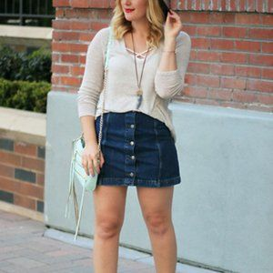 Brandy Melville Button Front Jean Skirt